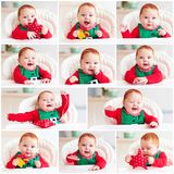 Set of cute happy infant baby boy in elf costume sitting in high. Chair at home Royalty Free Stock Images