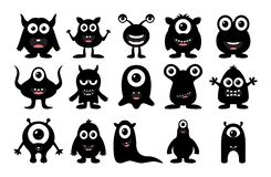 Set of cute happy monster on white background royalty free illustration