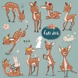 Set with cute hares and deer. Vector collection Royalty Free Stock Photos