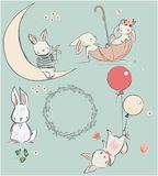 Set with cute hares. Set with cute white hares. vector illustration Stock Photo