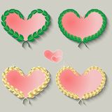 Set of cute hearts on a gray background Royalty Free Stock Image
