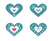Set of 4 cute  hearts Stock Photo