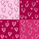 Set of cute hearts patterns Royalty Free Stock Photography