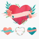 Set of cute hearts. Set of watercolor hearts with ribbons, vector illustration Stock Photos