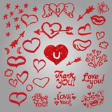 Set of cute hearts, wings, stars. Set of cute hearts, wings, stars, inscriptions, arrows, clouds. Inscriptions: love you, thank you, kiss. Doodle elements vector illustration