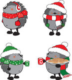 Set of 4 cute hedgehogs dressed for Christmas Stock Image