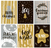 Set of cute holidays greeting card with hand drawn elements and shapes. Unique handwritten Christmas lettering collection. Stock Photo