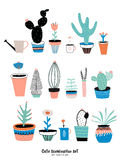 Set of cute house plants Stock Images