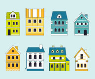 Set of cute houses for city constructor. Royalty Free Stock Photos