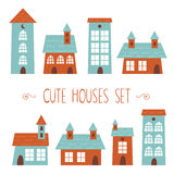 Set of cute houses hand drawn style Royalty Free Stock Image