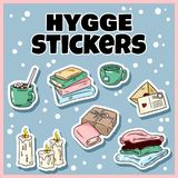 Set of cute hygge sticker doodles. Cartoon comic art style vector illustration