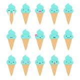 Set of cute ice cream emoji. Stock Image