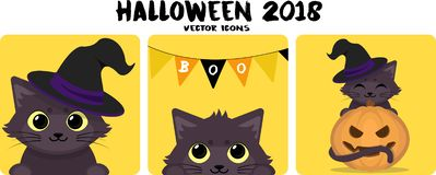 Set of cute icons with black cat for Halloween. vector illustration
