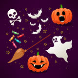 Set of cute icons for Halloween - 1 Royalty Free Stock Photos