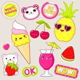 Set of cute summer stickers in kawaii style. Set of cute icons in kawaii style. Polar bears with strawberry, ice cream, pineapple in sunglasses, cherry, glass of Stock Photos
