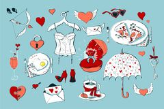 Set of cute icons for Valentine s day  on white background Stock Photography