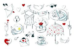 Set of cute icons for Valentine s day  on white background Royalty Free Stock Image