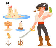 Set of cute illustrations related to pirates Royalty Free Stock Photography