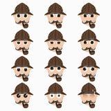 Set of cute investigator emoticons. Stock Images