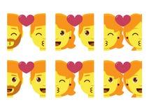 Set cute kawaii couple emojis colorful isolated Royalty Free Stock Photo
