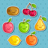 Set of cute kawaii smiling fruits stickers Royalty Free Stock Image