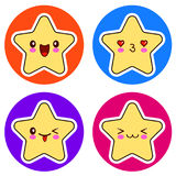 Set of cute Kawaii stars on different circle. Royalty Free Stock Photos