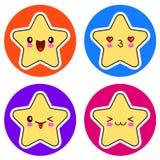 Set of cute Kawaii stars on different circle. Royalty Free Stock Photos