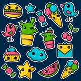 Set of cute kawaii stickers vector illustration