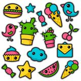 Set of cute kawaii stickers. Cupcake, ice-cream, candy, bird and etc. Collection emoticon manga, cartoon style. Vector illustration. Adorable characters icons stock illustration