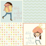 Set with cute kids card and lovely seamless patterns. Stock Photography