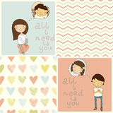 Set with cute kids card and lovely seamless patterns. Stock Images