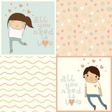 Set with cute kids card and lovely seamless patterns. Royalty Free Stock Image