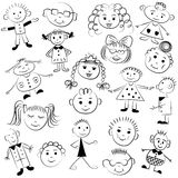 Set of cute kids. Funny children drawings. Sketch style stock illustration