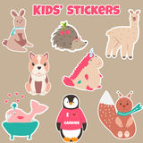 Set of cute kids stickers with different animals. Collection of cute kids stickers with different animals Stock Photos
