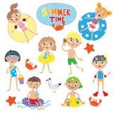 Set of cute kids on summer holidays. Stock Photo
