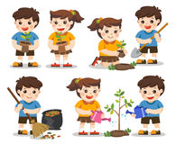 Set of cute kids volunteers. Save Earth. Isolated vector. Set of cute kids volunteers. Save Earth. they planted and watering young trees. A cute boy gathering Stock Photos
