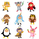 Set of cute kids wearing animal costumes. Jaguar, koala, ladybir Royalty Free Stock Image