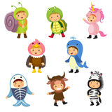 Set of cute kids wearing animal costumes. Snail, turtle, unicorn Royalty Free Stock Images