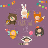 Set of cute kids wearing animal costumes Royalty Free Stock Images