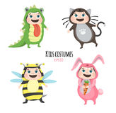 Set of cute kids wearing animal costumes  on white background, Kid with animals costume, cute child in costume Stock Photography