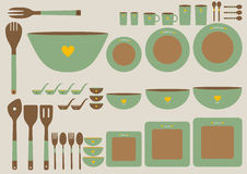 Set of cute kitchenware on brown backgrounds,Vector Royalty Free Stock Photos