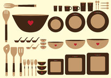 Set of cute kitchenware on brown backgrounds,Vector Royalty Free Stock Photo