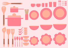 Set of cute kitchenware on pink backgrounds,Vector. Set of cute kitchenware on pink backgrounds vector illustration