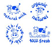 Set of cute label with cow. Organic, natural, fresh, farm grown product. Milk. Logo with animal. Vector illustration. Set of cute label with cow. sign of Stock Photos
