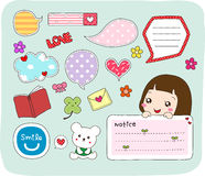 Set of cute labels, stickers, speech bubbles, frames. Royalty Free Stock Photos