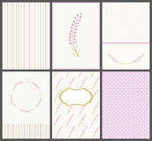 Set of cute lavender cards. Templates of shabby chic postcards for greeting. Stock Photos