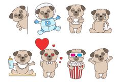 Set of cute linear pugs isolated on white backround.Pug in love, in space and with popcorn. Adorable pet dogs for cards, prints e. Tc. Vector illustration royalty free illustration