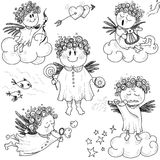 Set of cute little angels Royalty Free Stock Image