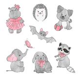 Set of cute little animals. Vector illustration. Royalty Free Stock Photo