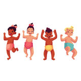 Set of cute little babies, boys and girls, dancing happily. Cartoon style vector illustrations isolated on white background. Little kids, children, babies stock illustration